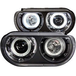 ANZO 2008-2014 Dodge Challenger Projector Headlights w/ Halo Black (CCFL)