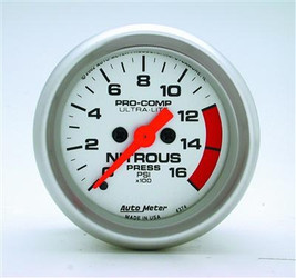 Auto Meter Analog Ultra-Lite Series Nitrous Pressure Gauge (0 to 1600 PSI) - 4374