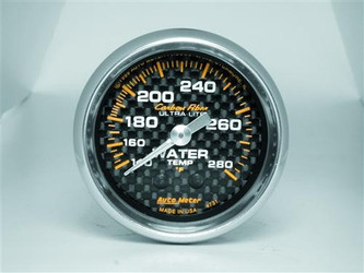 Auto Meter Carbon Fiber Series Analog Water Temperature Gauge (120 to 280 F) - 4731