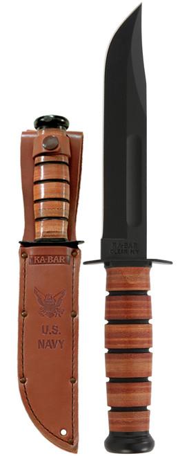 Kabar USA 1225 US Navy Fighting Utility Knife w/Leather Sheath
