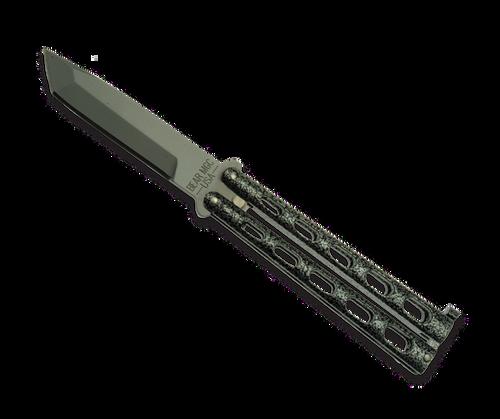 "Bear & Son 114A 5"" Silver Vein Armor Piercing Butterfly Knife"
