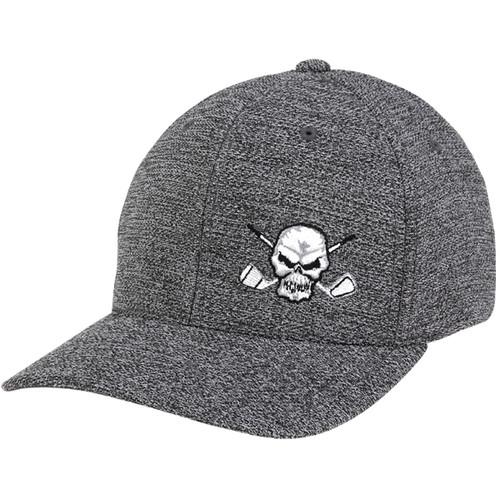 7551ba2c998cb Skull Design Fitted Golf Hat (Dark Heather Grey)