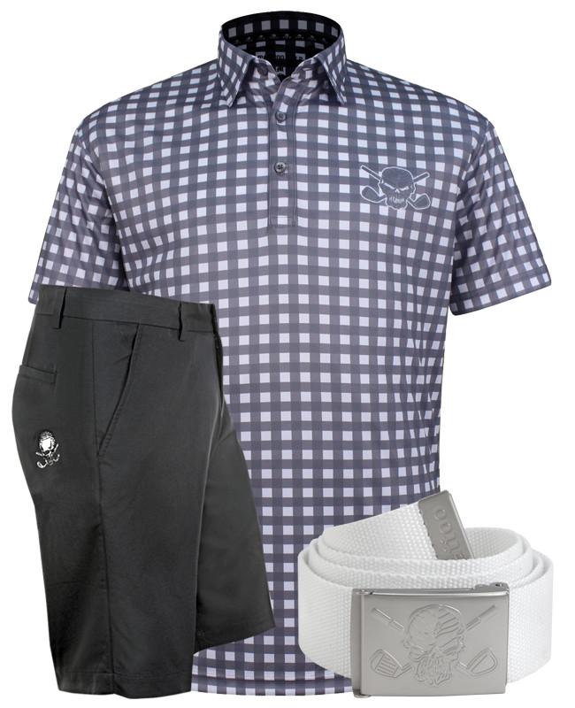 ef3bad4cdc5 Checkerboard Print Men s Polo   Golf Shorts (Grey Black) - Ships FREE