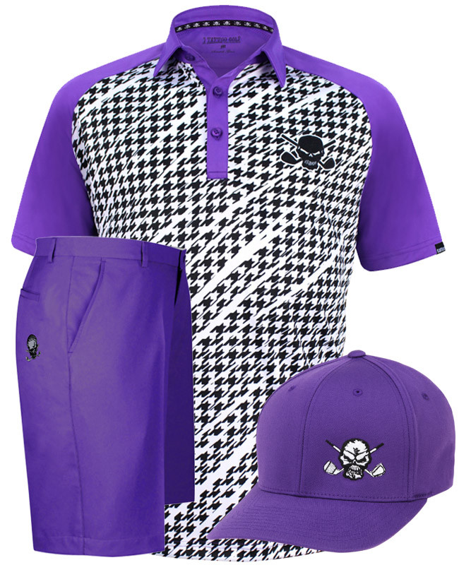 653a8738 Performance ProCool men's purple houndstooth golf shirt, ProCool Golf  Shorts, and a Flexfit golf