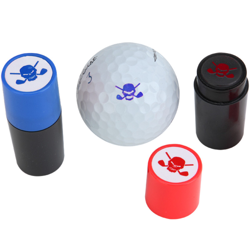 Golf Ball Stamp W Skull Design Available In Black Blue Red