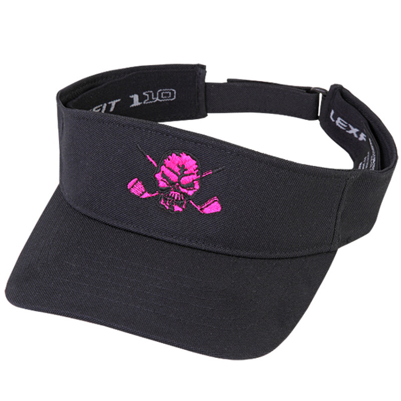 New eye-popping pink embroidered skull design on this hot Flexfit  adjustable visor. a1b4ceaacfb