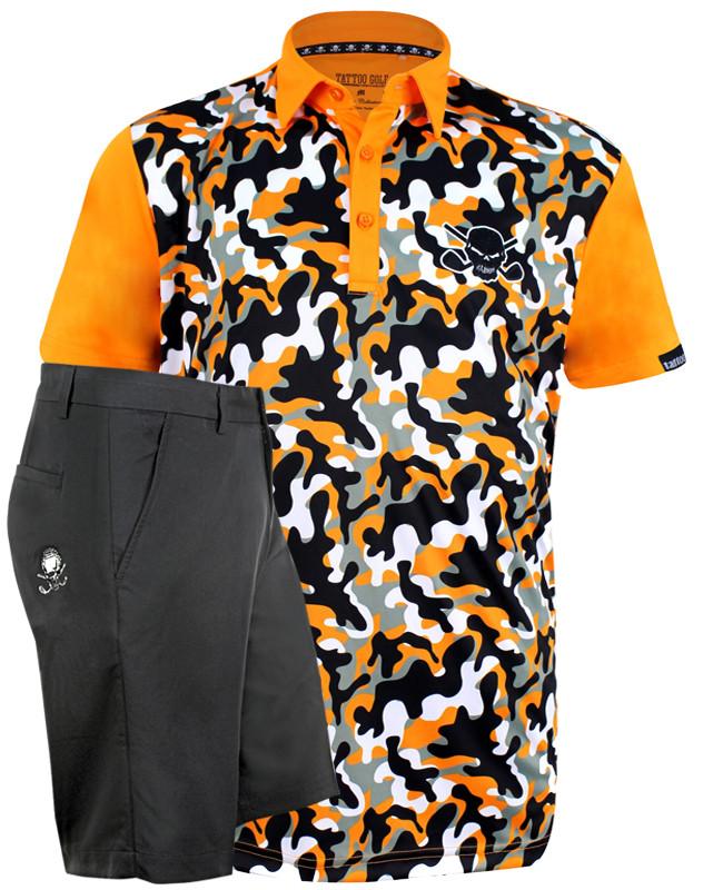 Orange camo men s performance golf shirt and OB skull black golf shorts.  ProCool fabric technology 35345db79b0