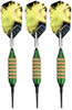 Spinning Bee soft tip darts with green barrels