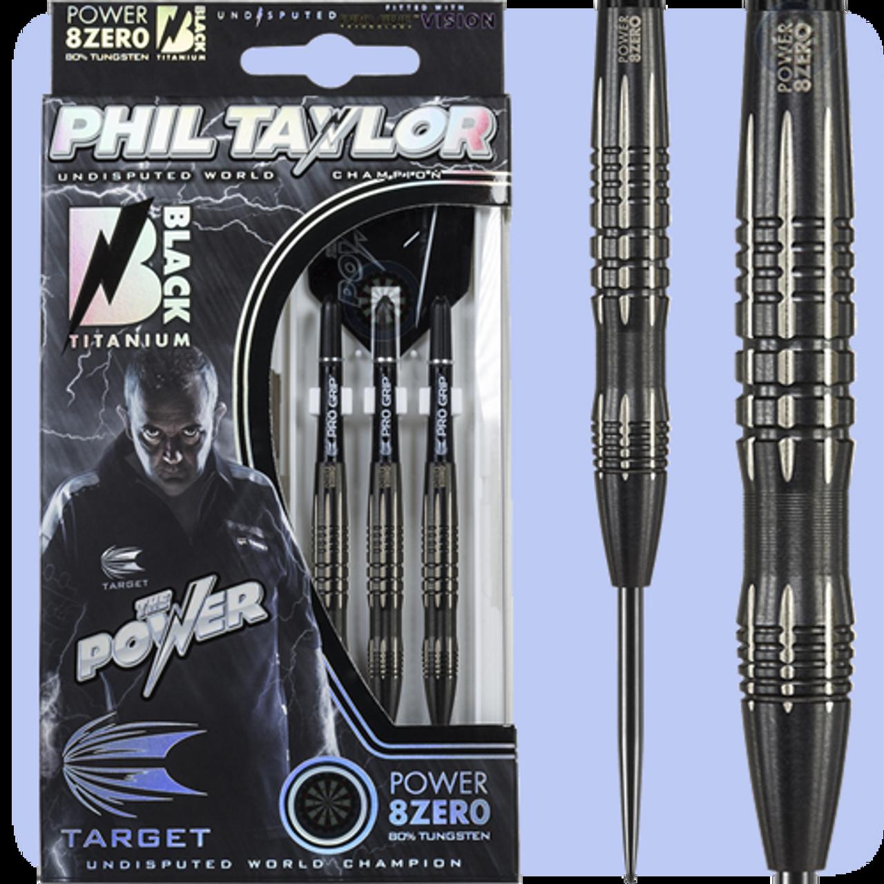 Target Darts Phil Taylor Power 8-Zero Schwarz 80/% Wolfram Steeldarts-Set
