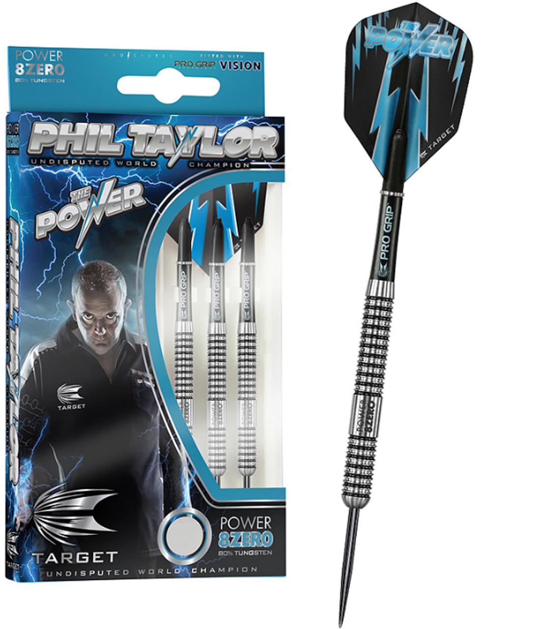 TARGET PHIL TAYLOR POWER 8ZERO 80/% TUNGSTEN 21 Gram Steel Tip Darts 200200