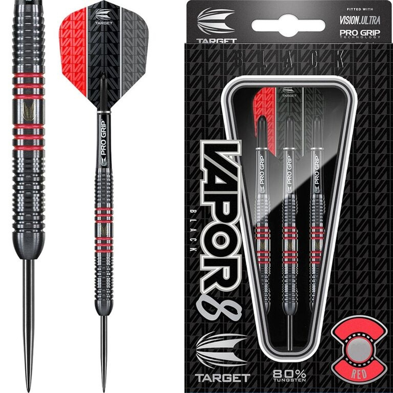 0715b2e8ba709 Target Vapor-8 Black Red Steel Tip Darts - 25g - 80% Tungsten