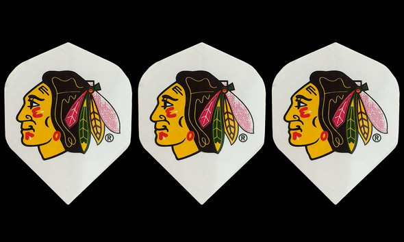 Dart flights with Chicago Blackhawks hockey logo