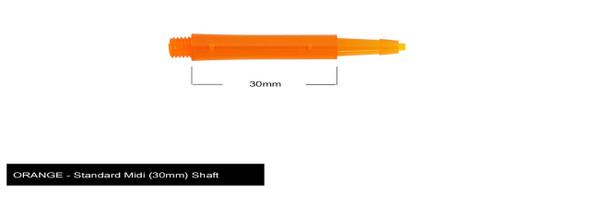 Harrows Clic Standard Midi 2ba Dart Shafts - Orange, 30mm, 30,