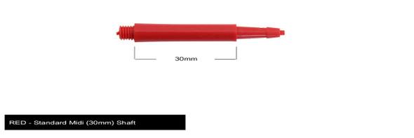 Harrows Clic Standard Midi 2ba Dart Shafts - Red, 30mm, 30,