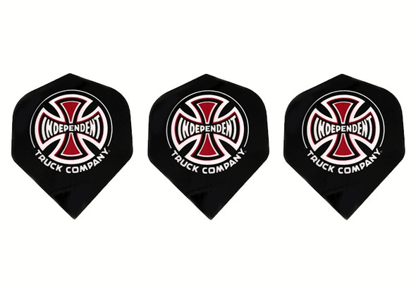 Dart flights with Independent Truck Company skateboard manufacturer logo