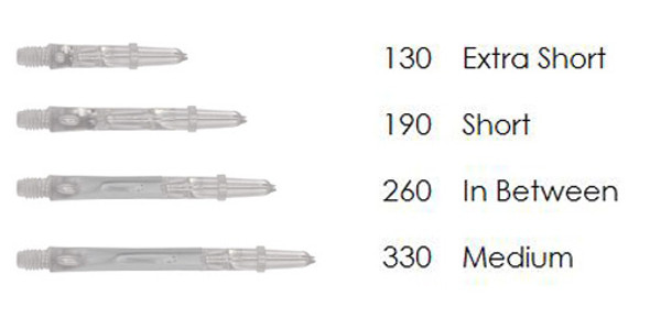 Clear L-Style spinning dart shafts in different lengths