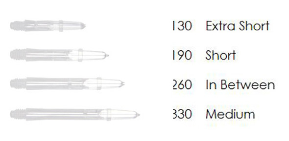 White L-Style spinning dart shafts in different lengths