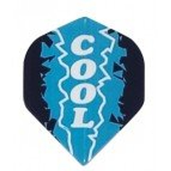 "Dart flights with ""cool"" written over an ice graphic"