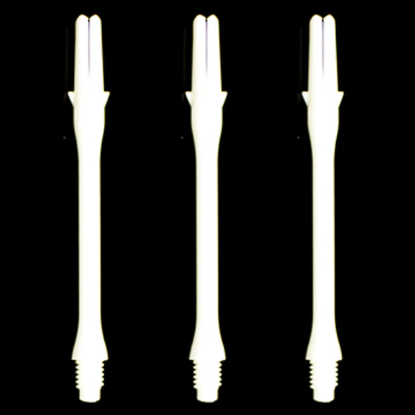 Slim white L-Shaft dart shafts in 44mm lengths