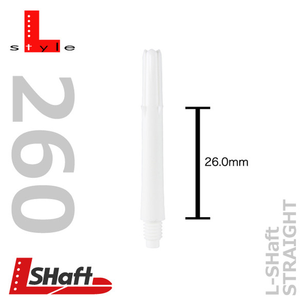 Straight White L-Shaft dart shafts 260 length