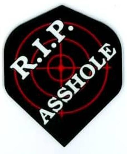 "Standard dart flight with ""R.I.P. Asshole"" written over a target on black."