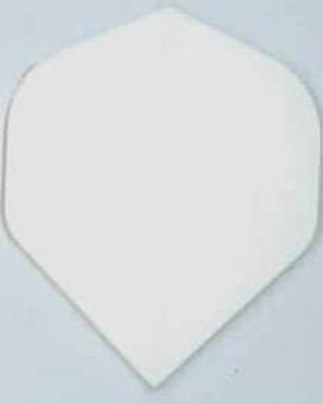 A white standard shape nylon dart flight