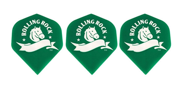 Dart flights with the Rolling Rock logo.