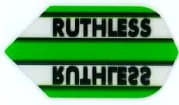 Green slim dart flight with the Ruthless logo