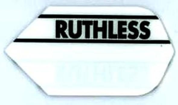 White slim dart flight with the Ruthless logo