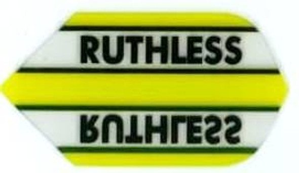 Slim dart flight in yellow with the Ruthless logo