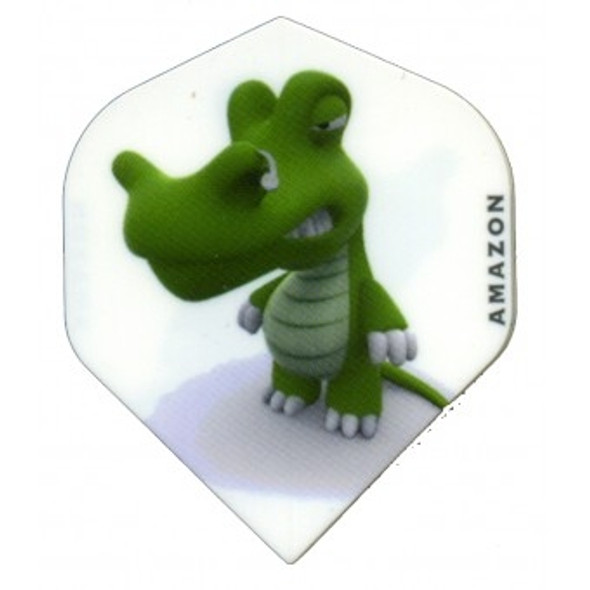 Amazon dart flight with a cartoon crocodile on a white background