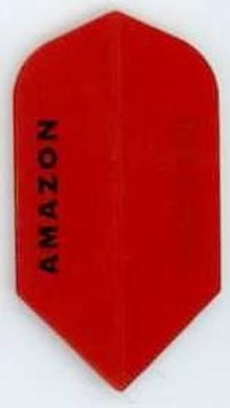 "Red slim dart flight with the ""Amazon"" logo on them"