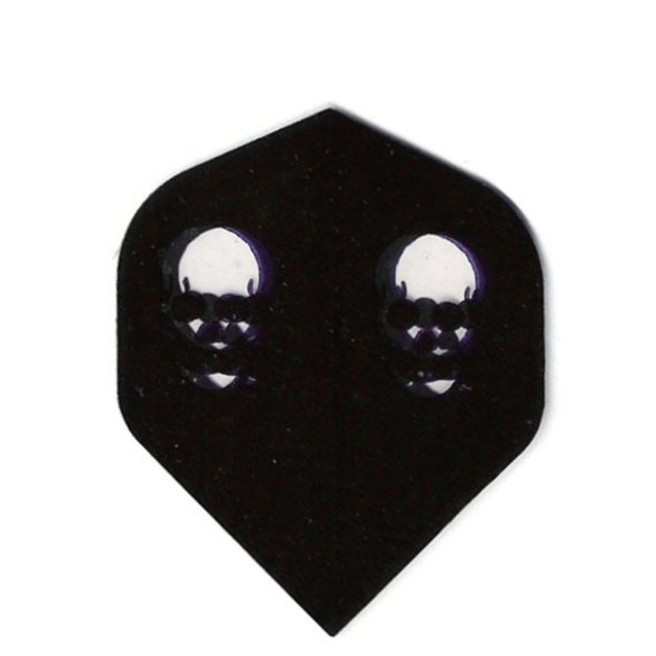 Dart flights with two skulls on a black background