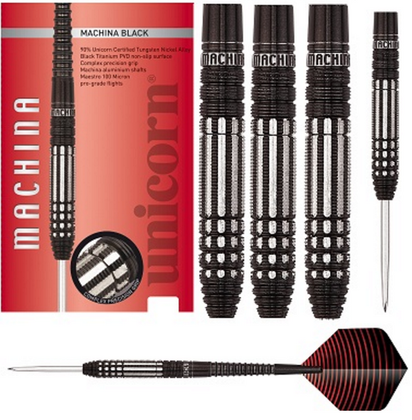Unicorn Machina Black Steel Tip Darts - 24g