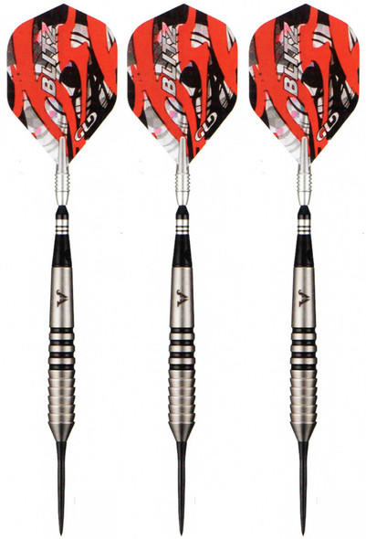 Three 26 gram Viper Blitz steel tip darts