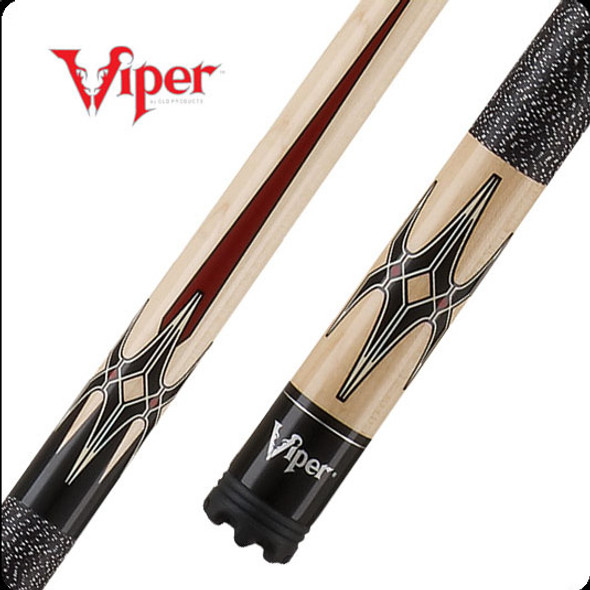 Viper Sinister pool cue with white tiger stripe maple butt