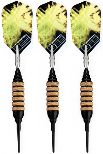 Spinning Bee soft tip darts with black brass barrels