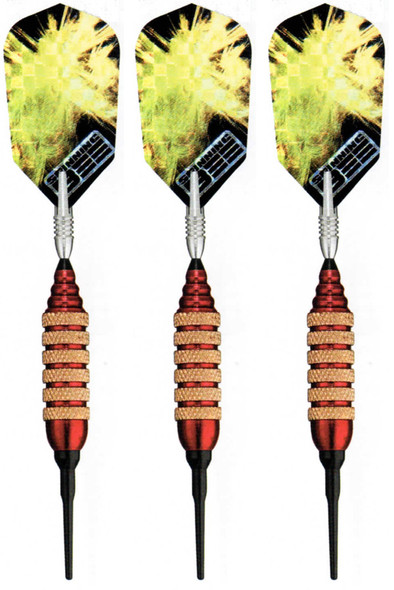 Spinning Bee soft tip darts with red brass barrels