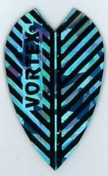 Vortex dart flight with blue and black stripes