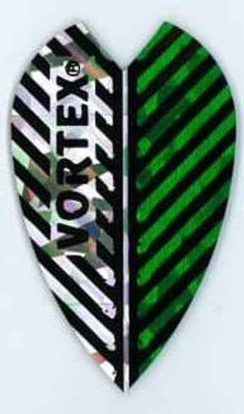 Vortex dart flight with green and silver stripes