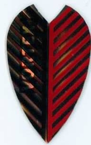 Vortex dart flight with red and black stripes