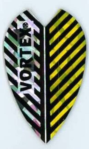 Yellow and silver striped Vortex dart flight