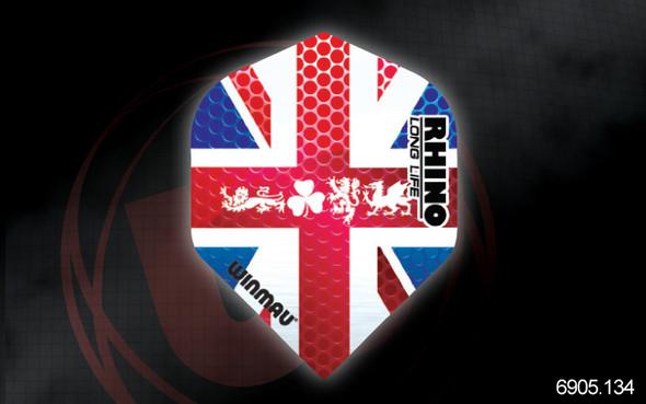 Winmau Rhino Long Life Extra Thick Standard Flights - 6905.134, Union Jack, Clover, Lion, Dragon, Red, White, Blue, England, British, U.K. Flag