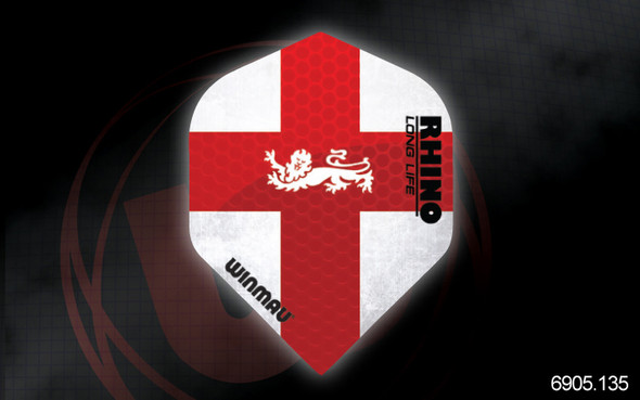 Winmau Rhino Long Life Extra Thick Standard Flights - 6905.135, Saint George's Cross, St. George, Georges, Red, White, Crest, Lion