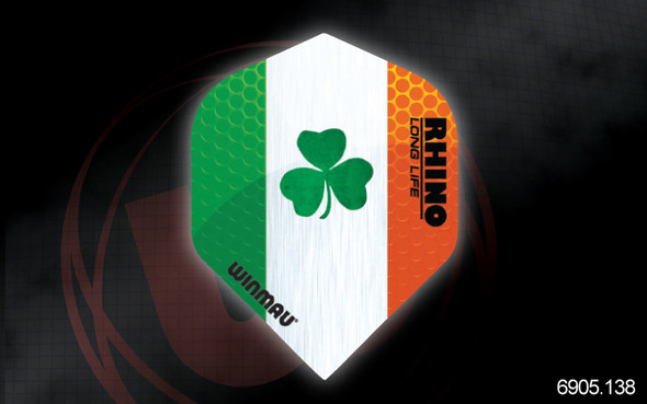 Winmau Rhino Long Life Extra Thick Standard Flights - 6905.138, Irish, Ireland, Flag, 3 leaf Clover, Green, White, Orange