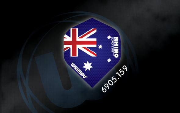 Winmau Rhino Long Life Extra Thick Standard Flights - 6905.159, Red, White, Blue, Australian, Australia, Flag