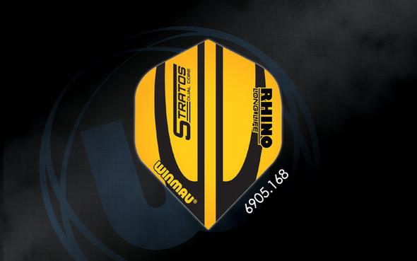 Winmau Rhino Long Life Extra Thick Standard Flights - 6905.168, Stratos Dual Core, Black, Yellow