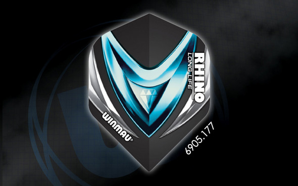 Winmau Rhino Long Life Extra Thick Standard Flights - 6905.177, Diamond, Ice, Black, Blue, Silver