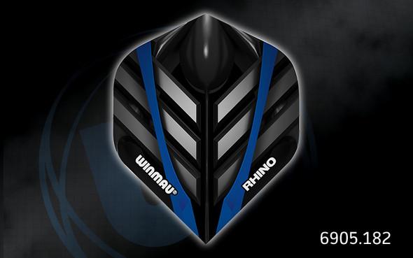 Winmau Rhino Long Life Extra Thick Standard Flights - 6905.182, Black, Blue, Silver, Metal