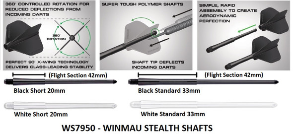 Winmau Stealth Short 20mm 2ba Dart Shafts - White